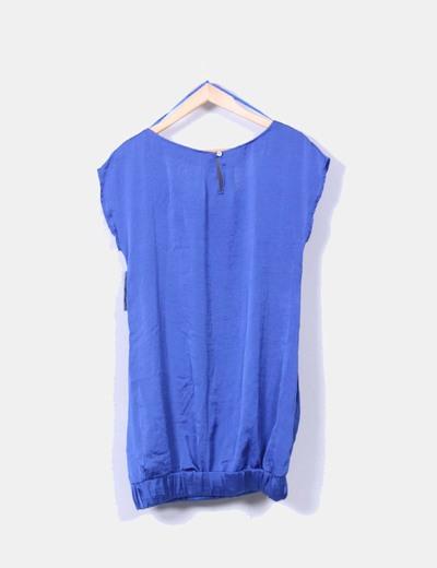 Vestido globo raso azul klein con tachas