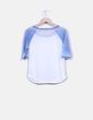 Camiseta blanca y azul manga francesa Forever 21
