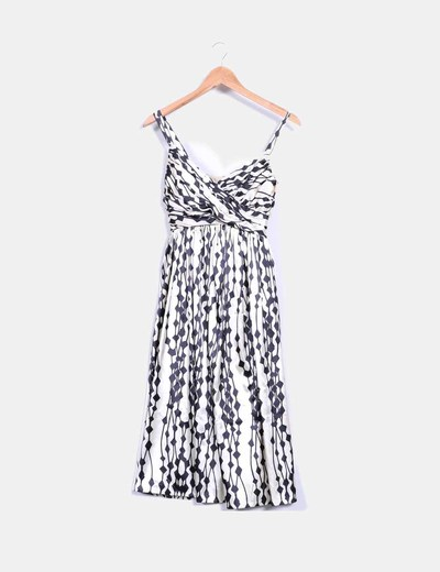 Vestido bicolor tacto seda Zara