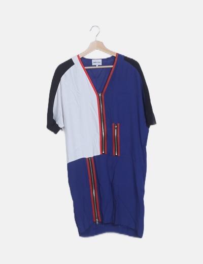 Vestido multicolor detalle cremallera