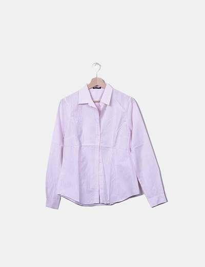 Camisa rosa raya blanca Massimo Dutti