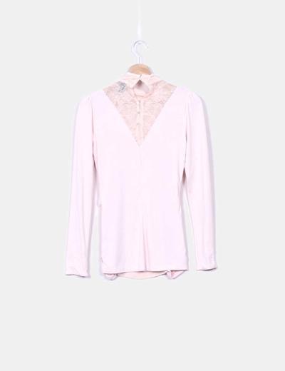 Blusa drapeada rosa