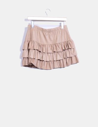 Falda con volantes marron de antelina