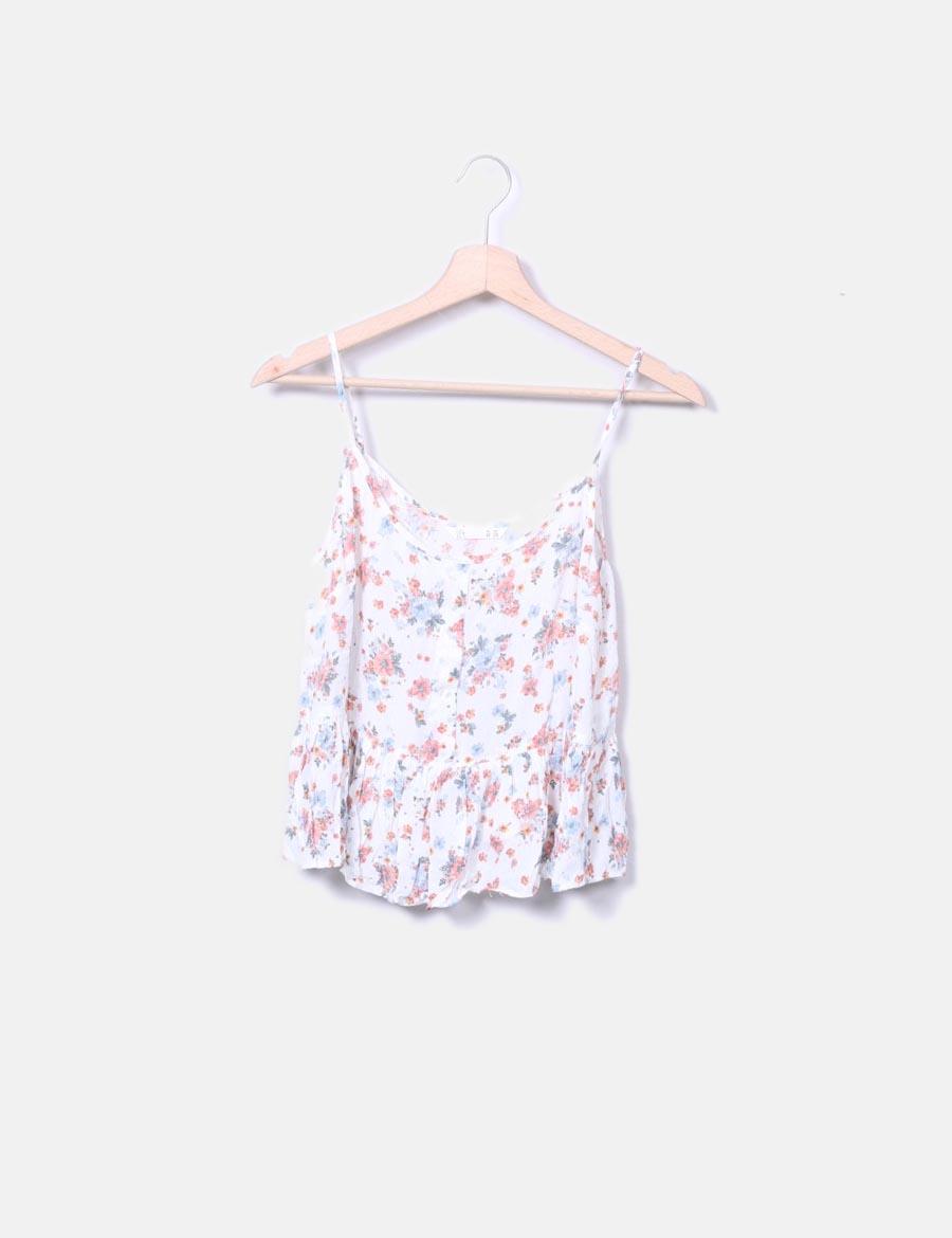 Volante Top Mujer Cropped Tops Floral Online Lefties Blanco Q1uxep6g wqR7rw