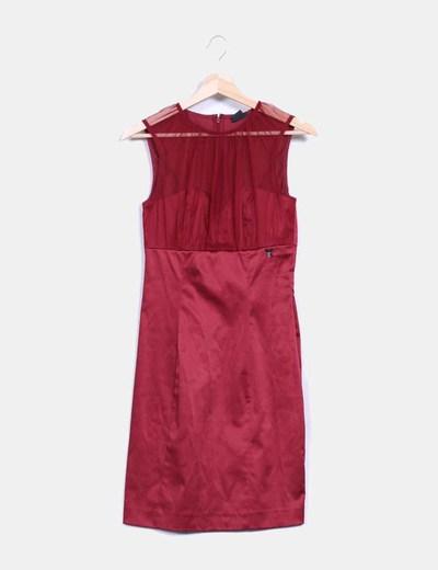 Vestido granate de raso con transparencia Miss Sixty