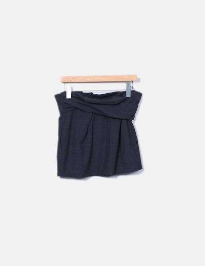 Minifalda gris fruncida