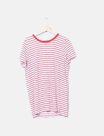 Camiseta blanca raya roja