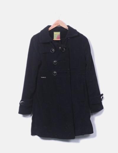Abrigo largo negro combinado