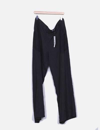 Pantalón fluido negro con encaje Suiteblanco