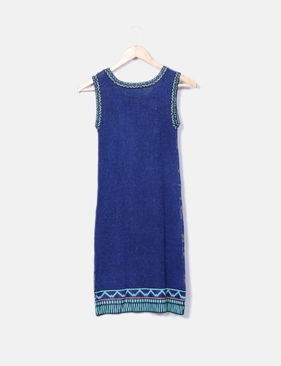 Vestido tricot print con brillos