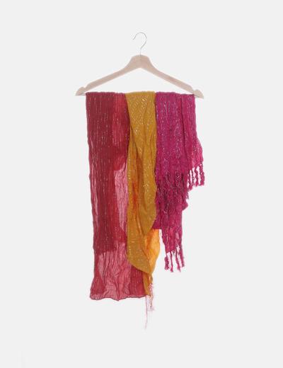 Conjunto de tres pañuelos rosa rojo y amarillo