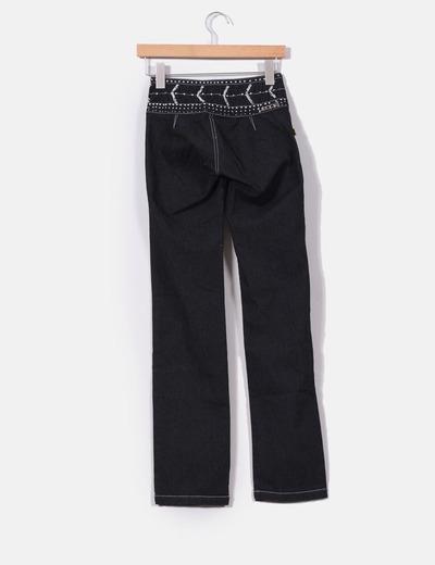 Jeans recto azul oscuro con strass