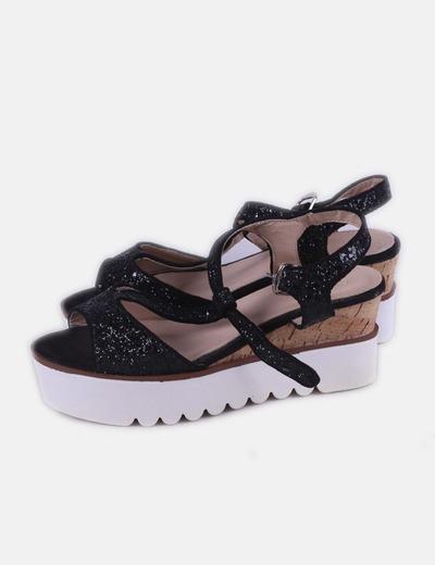 Sandalia negra plataforma glitter