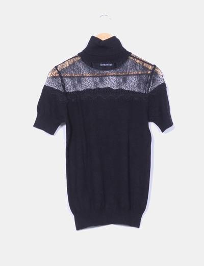 Top tricot negro combinado encaje