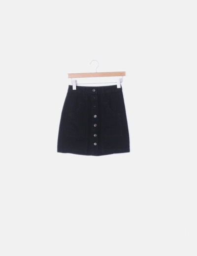Falda denim negro