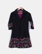 Vestido camisero negro con bordado floral Niza
