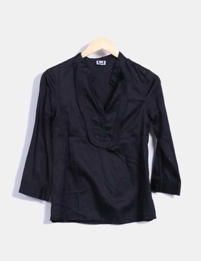 Camisa negra manga francesa Adolfo Dominguez