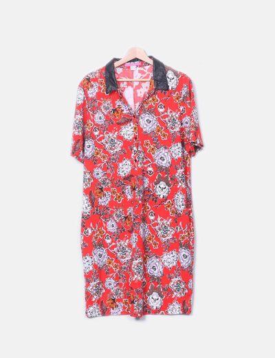 Vestido camisero rojo floral