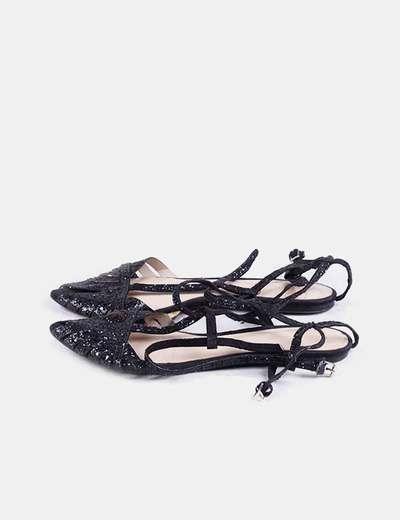 Sandalias negras glitter