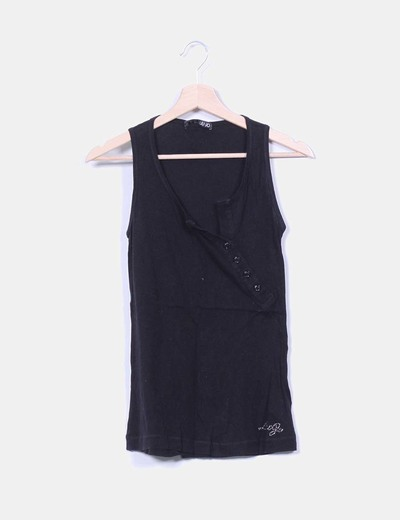 Camiseta negra escote asimétrico Liu·Jo