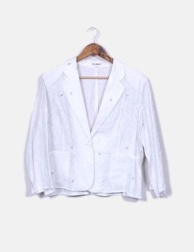 El Corte Inglés Bestickter weißer Blazer (Rabatt 84 %) - Micolet 9e7c19c86d