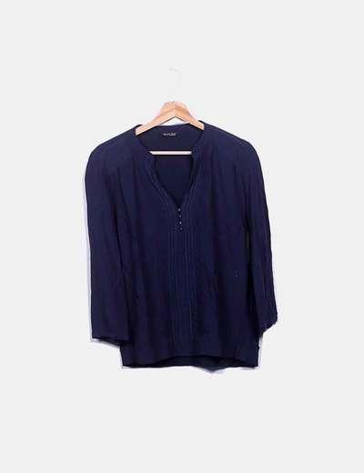Blusa azul marina detalle botones