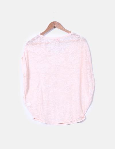 Camiseta rosa palo semitransparente de manga corta