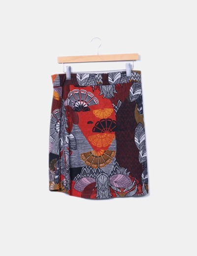Falda midi estampada de punto Surkana
