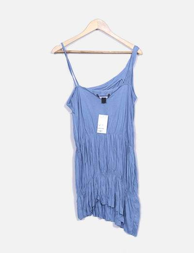 Vestido azul con tirante asimetrico