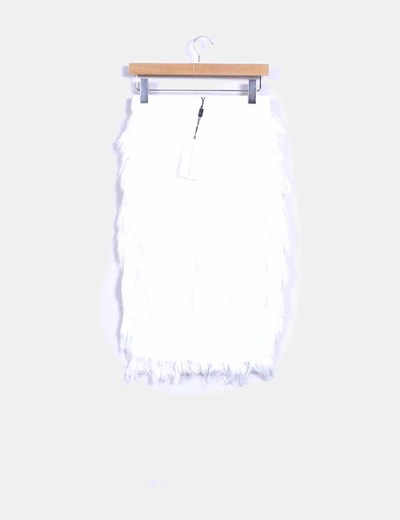Falda midi blanca con flecos