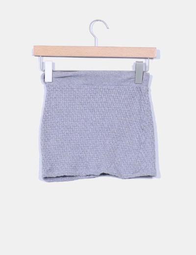 Mini falda gris texturizada