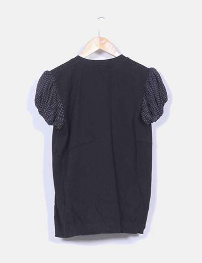 Chaqueta negra tricot mangas combinadas