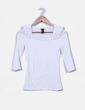 Top blanco hombros drapeados H&M