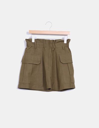 Falda safari khaki con bolsillos Sfera