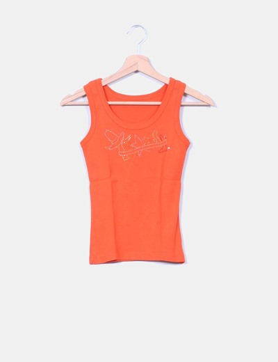 Top naranja con strass
