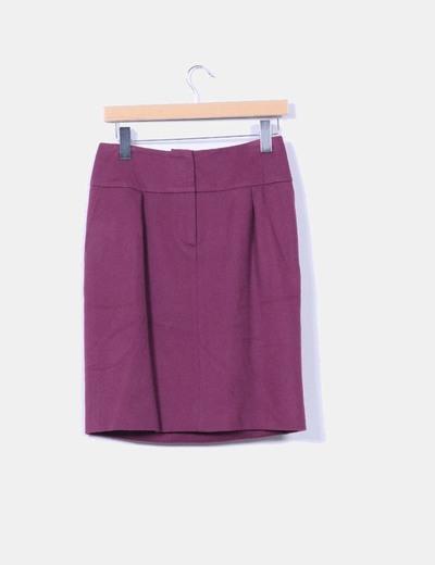 Falda midi color vino de lana