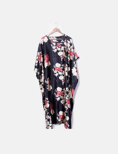 Black floral satin tunic dress Fionalissa