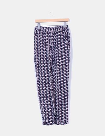 Pantalón harem azul marino estampado Naf Naf