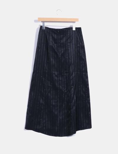 Falda larga negra con rayas diplomaticas