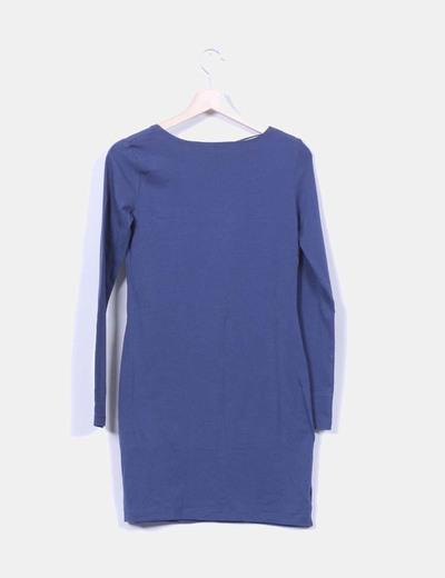 Vestido basico azul marino manga larga