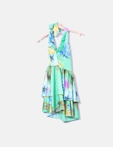 9c13e79c00 Vestido verde com estampado floral Denny Rose