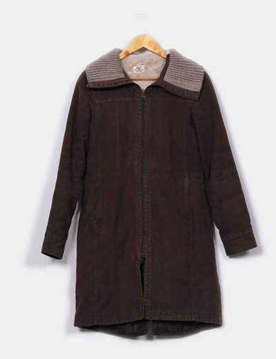 Abrigo largo marrón  Pull&Bear