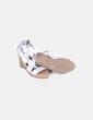 Sandales argentées compensées el'çasticas à bandes Chika10