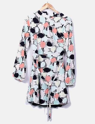 Vestido estampado de manga larga satinado Suiteblanco