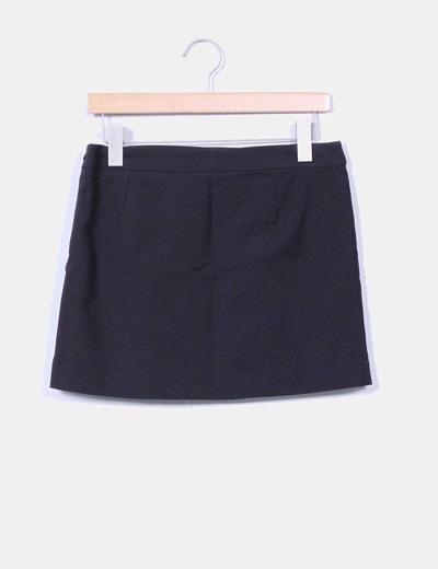 Mini falda negra con cremalleras Mango