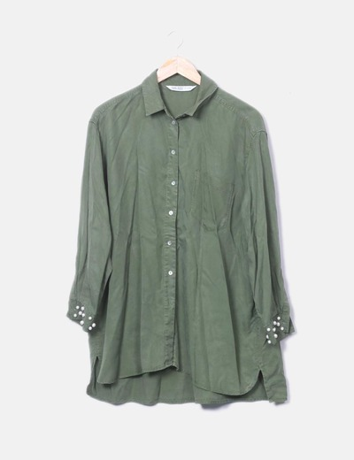 Surchemise avec perles vert Zara