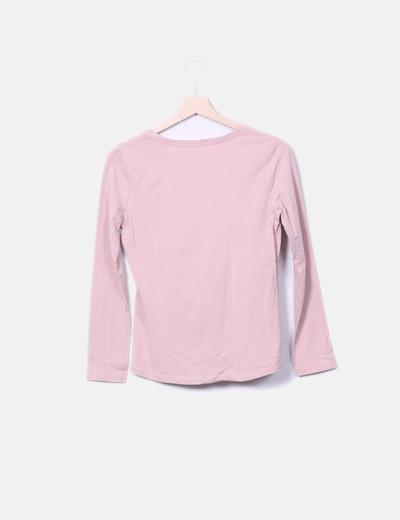 cómo hacer pedidos mejor baratas diseño novedoso Camiseta manga larga rosa palo