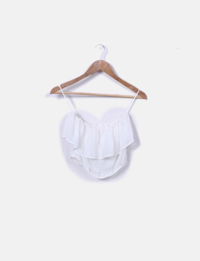 Crop top volante blanco