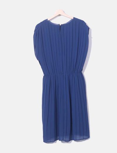 Vestido azul plisado zara
