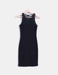 Vestido negro combinado con encaje Pull&Bear